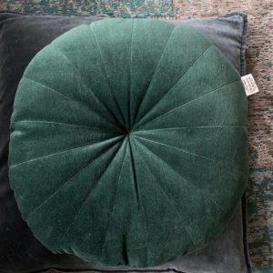 woonkussen rond velvet groen